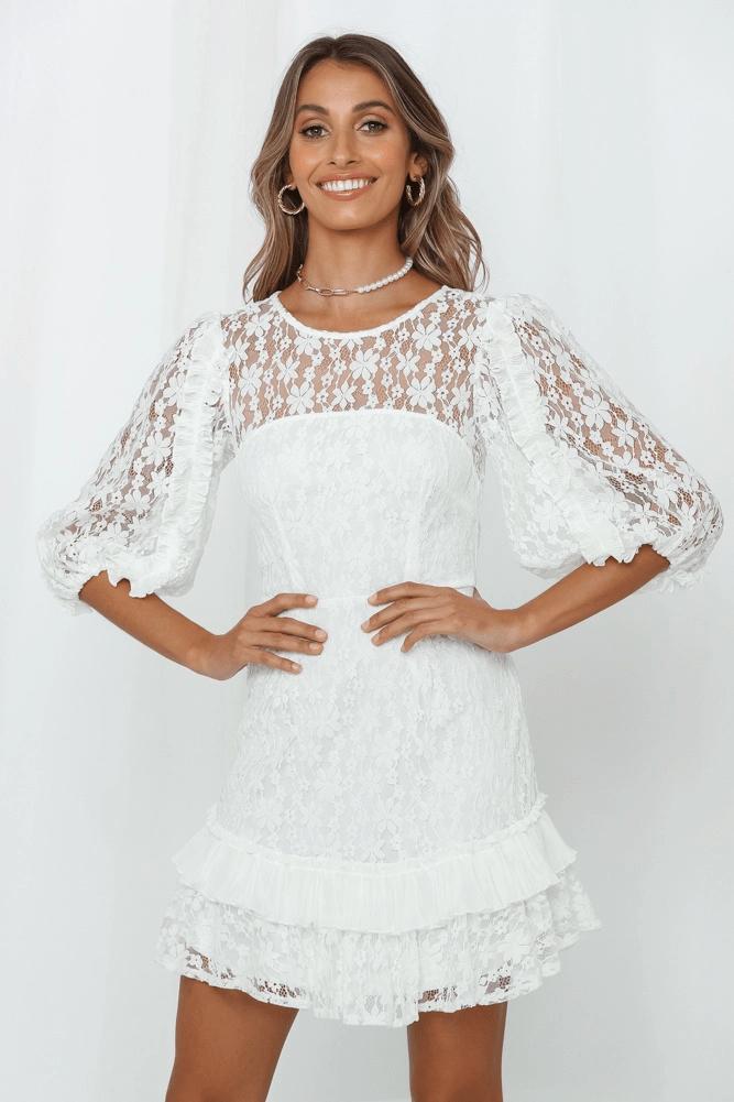 White Lace Long Sleeve Mini Dresses For Women In 2020 Long Sleeve Lace Mini Dress Ladies Mini Dresses White Lace Mini Dress