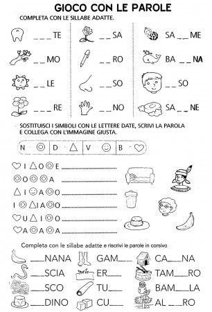 Completa con le sillabe n d v b classe prima schede for Parole con scu per bambini