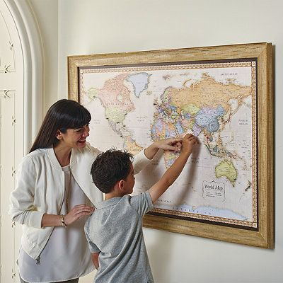 World magnetic travel map with antique white frame frontgate world magnetic travel map with antique white frame frontgate gumiabroncs Gallery