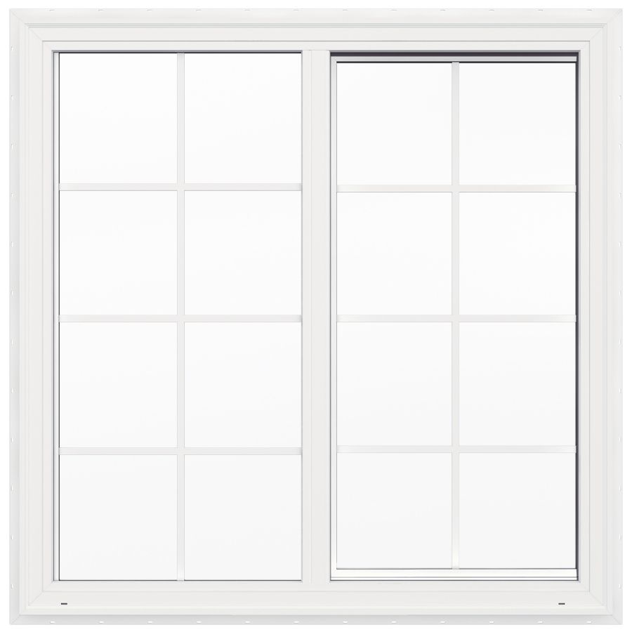 JELD WEN V2500 Left Operable Vinyl Double Pane Double Strength New  Construction Sliding Window