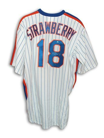 new style 2053f 1a76b Autographed Darryl Strawberry New York Mets White Pinstripe ...