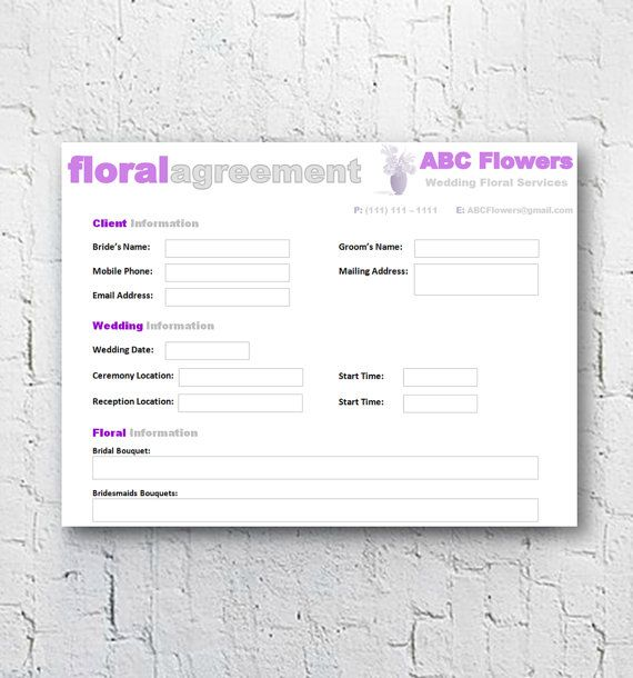Florist Bridal Wedding Agreement Floral Business Contract