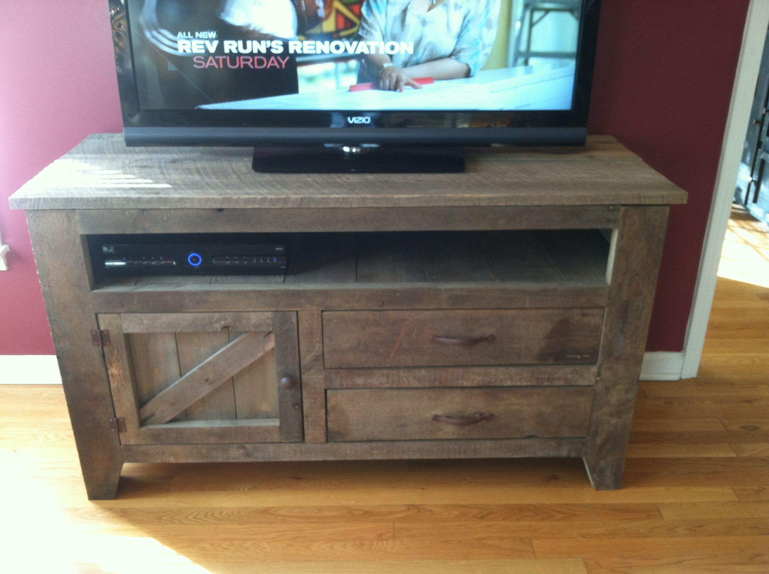 Reclaimed Wood Tv Stand With Two Drawers And A Storage Bin Below Open  Housing For Electronic
