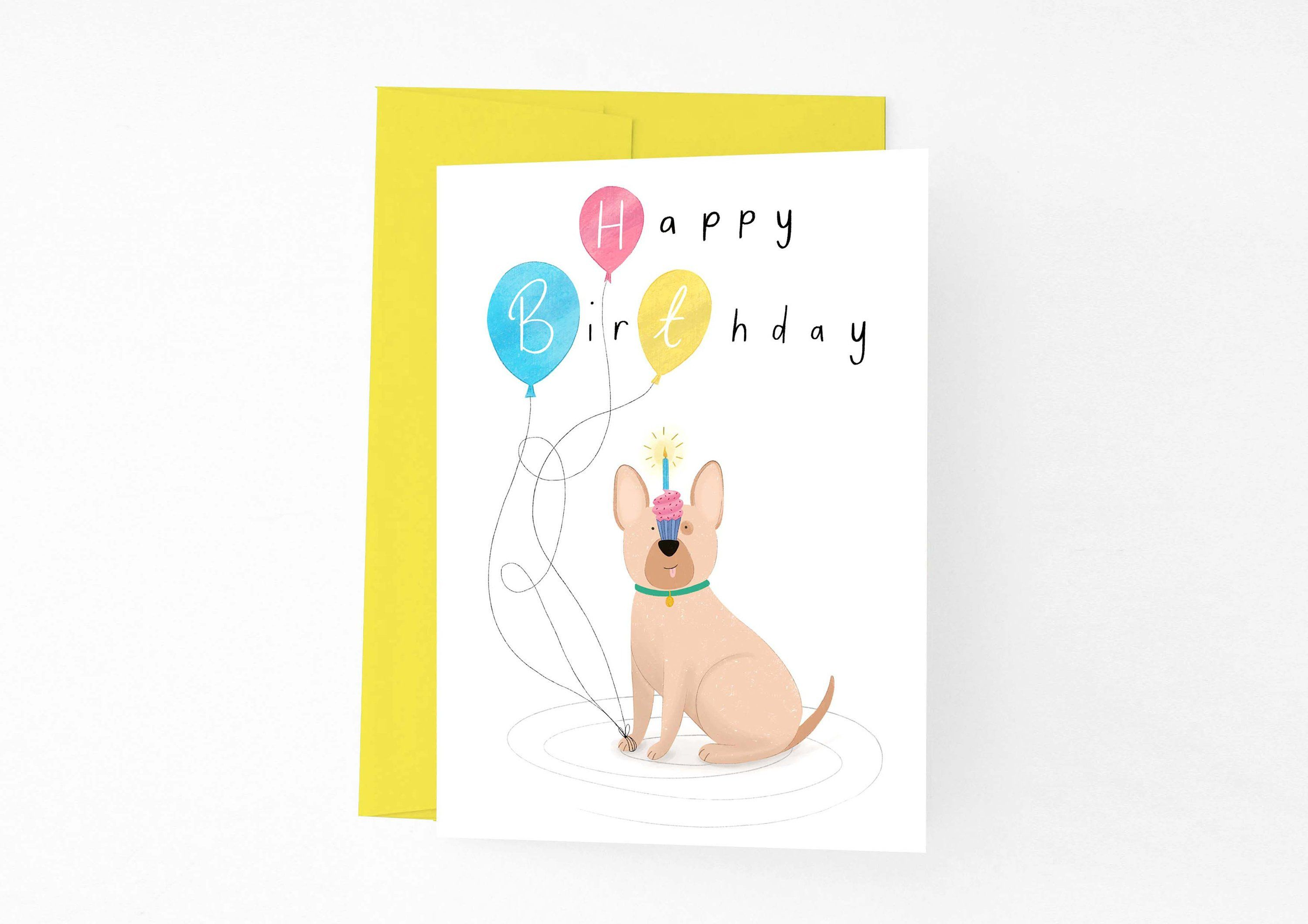 Happy Birthday Dog Card Funny With Balloons For Owner Blank Frenchie By ChloeFaeDesigns