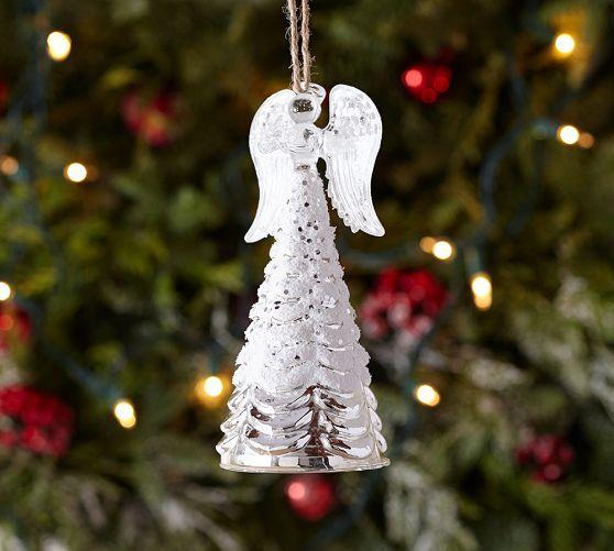 Mercury Glass Angel Ornament Pottery Barn Holiday Pinterest