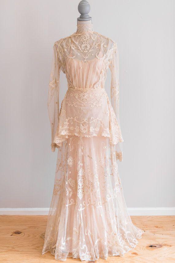 Sale exquisite cream antique victorian sheer irish lace for Celtic wedding dresses for sale