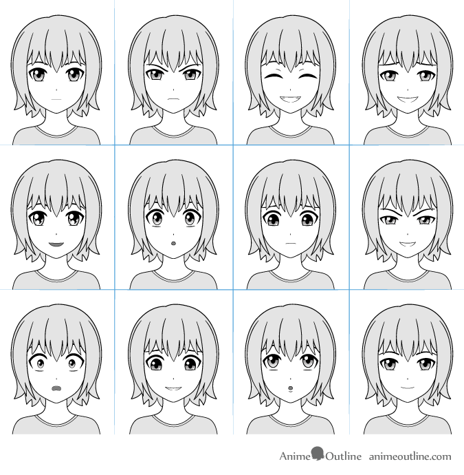 Anime facial expressions chart with 12 expressions Face