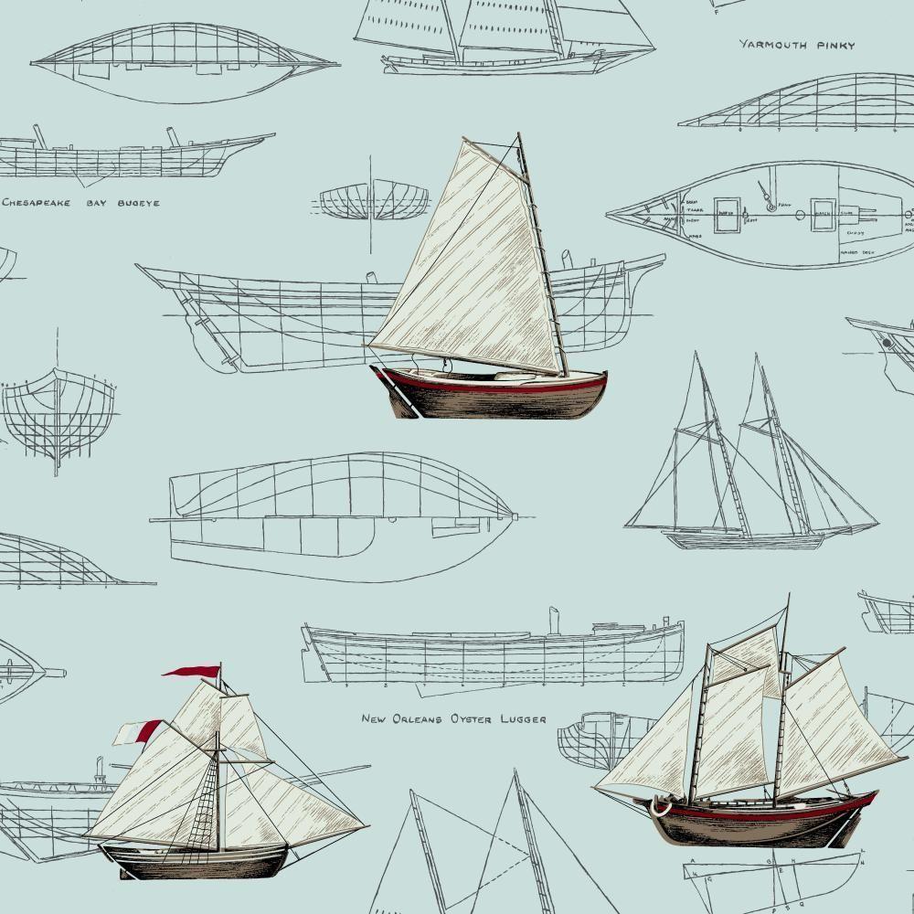 56 sq. ft. Nautical Living Pond Yachts Wallpaper, Aquamarine/Dark Grey/Brown/Red