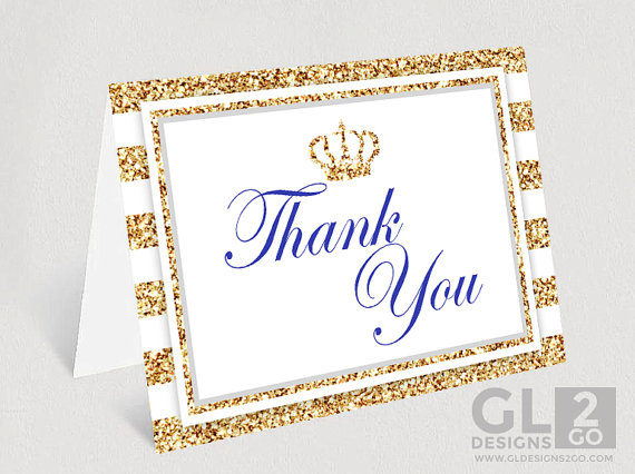 Prince Baby Shower Thank You Card Printable Boy Baby Shower Thank