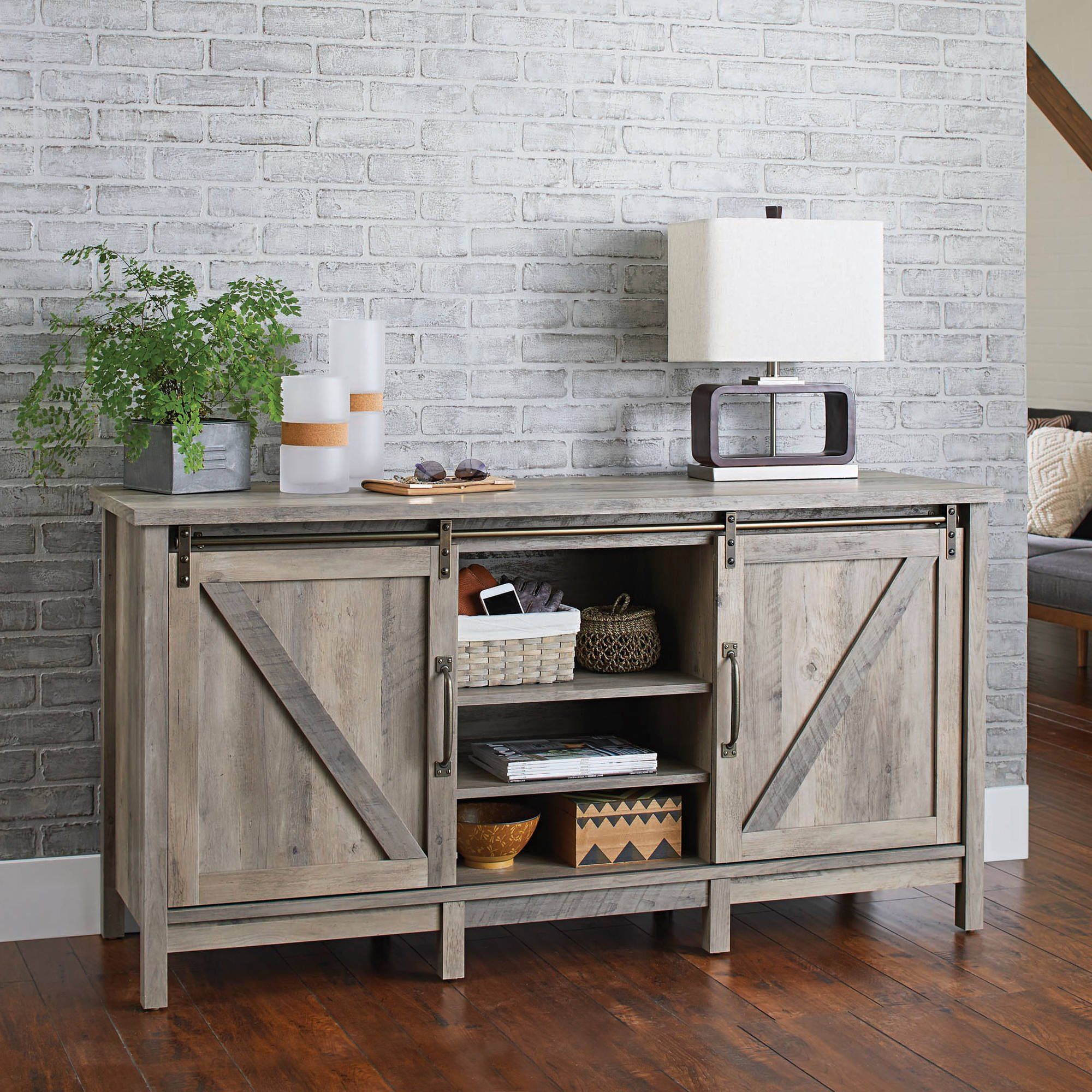 Better Homes Gardens Modern Farmhouse Tv Stand For Tvs Up To 70 Rustic Gray Finish Walmart Com In 2021 Farmhouse Style Tv Stand Farmhouse Tv Stand Rustic Media Cabinets
