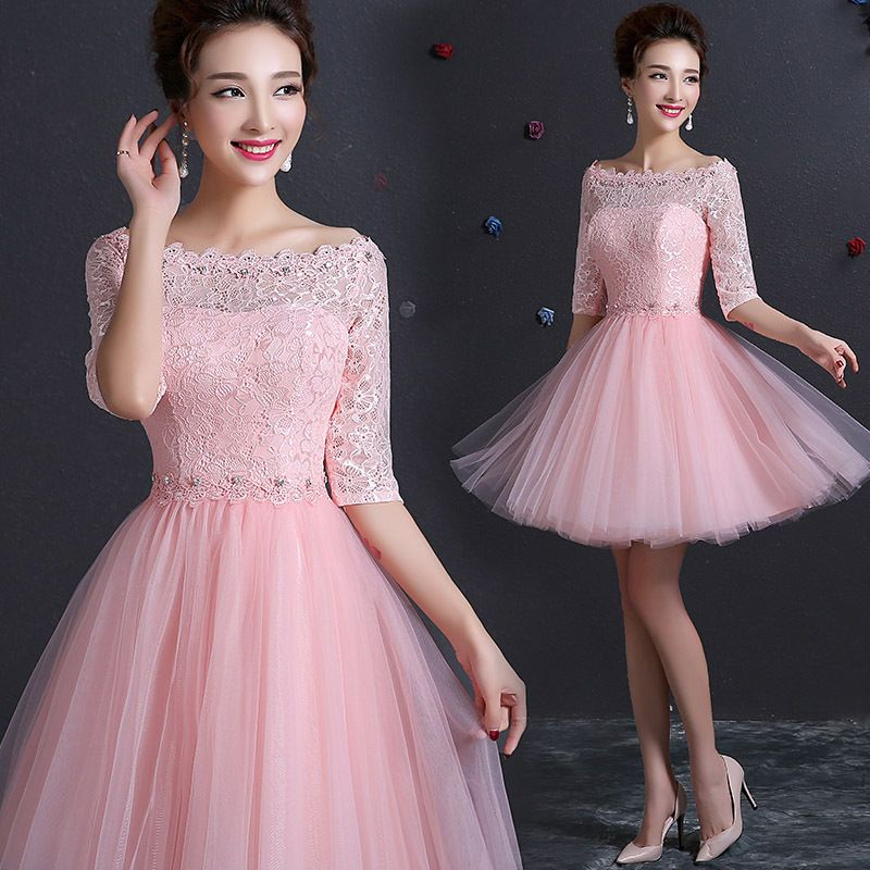 NEW pink Lace short Formal Prom Evening Party Cocktail Bridesmaid ...