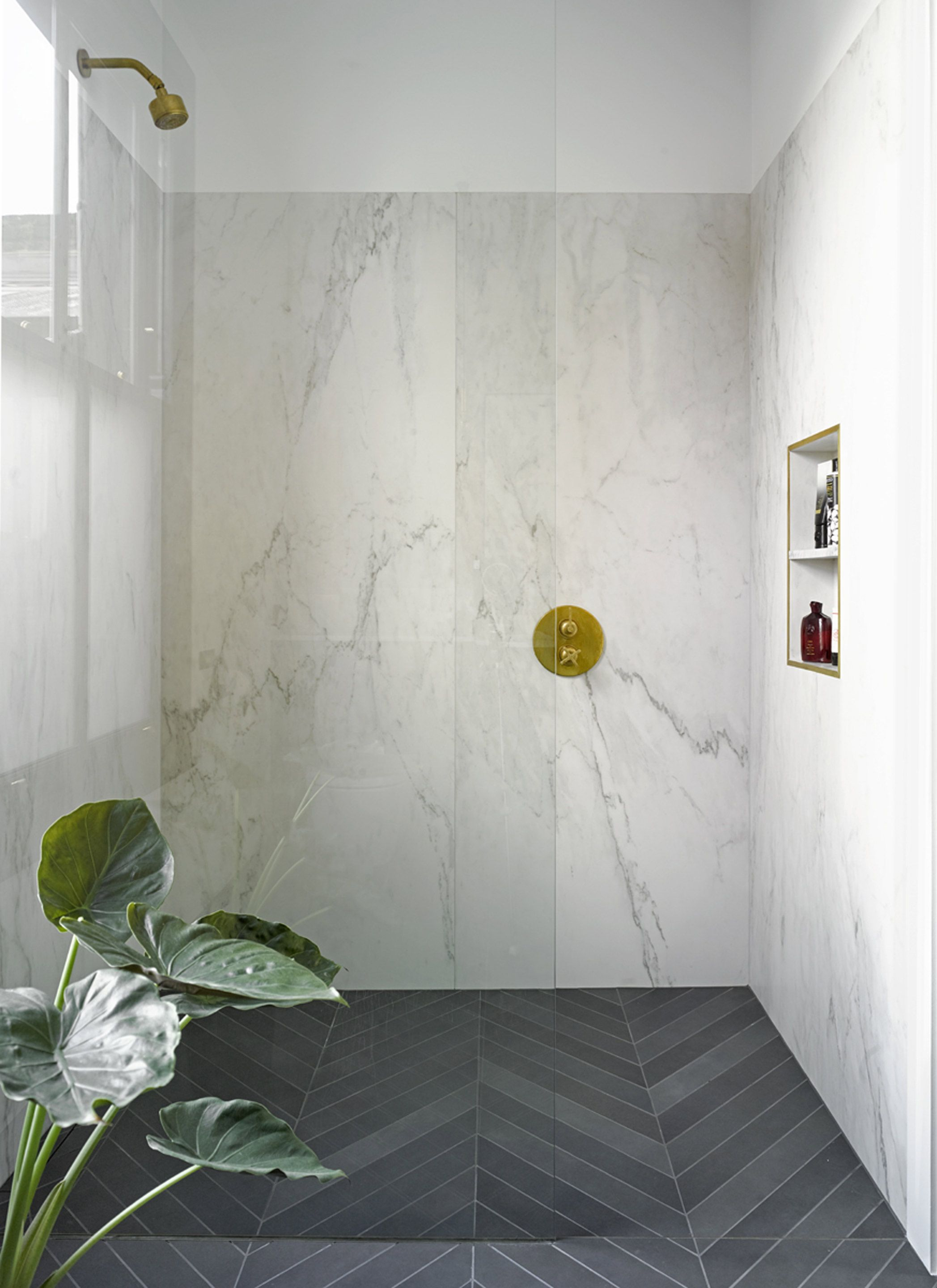 Shower Booth Wall Tilebig Pieces Less Grout Floor Dark
