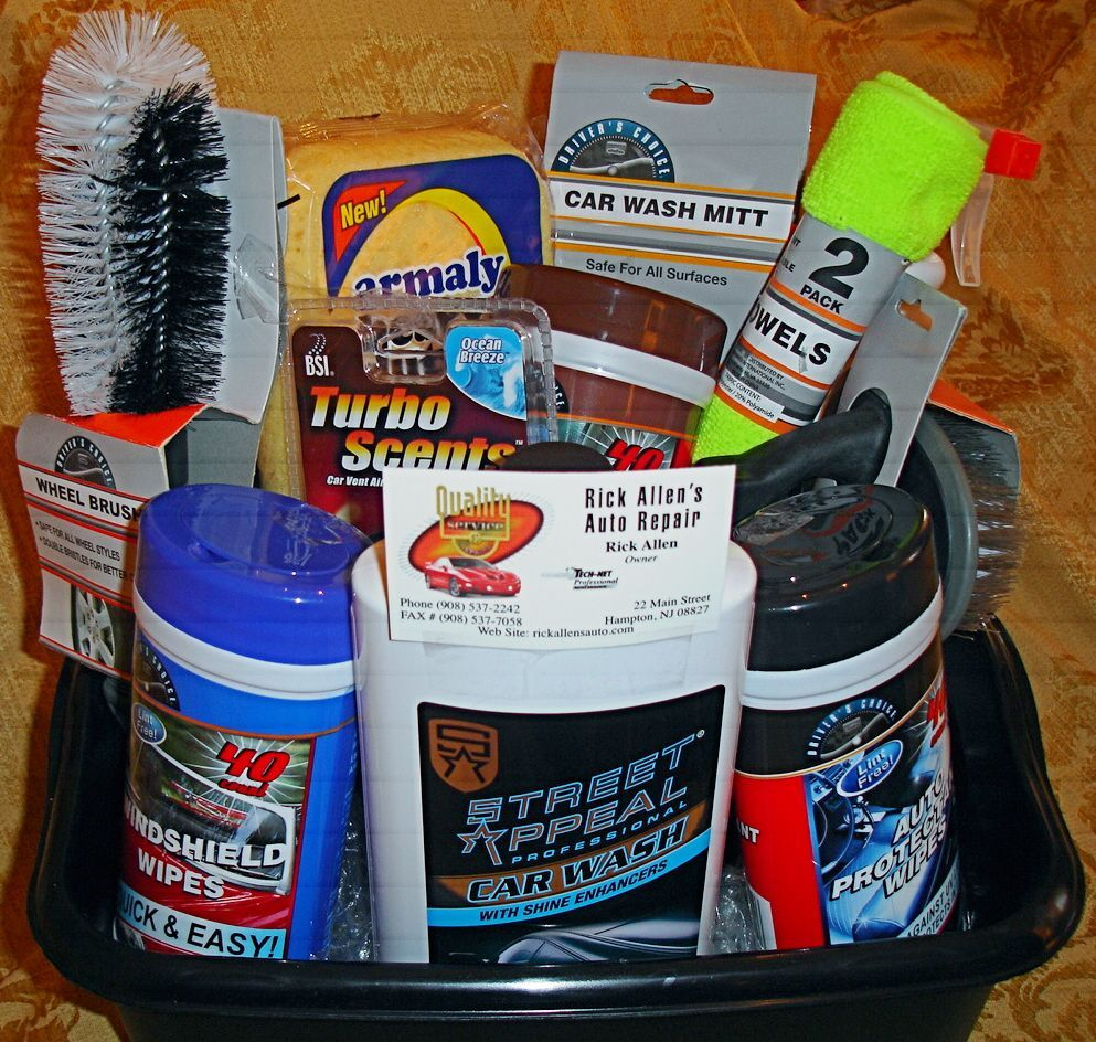Cool Car Gifts For Guys: Car Wash Supplies Gift Basket...great 16th Bday Gift For