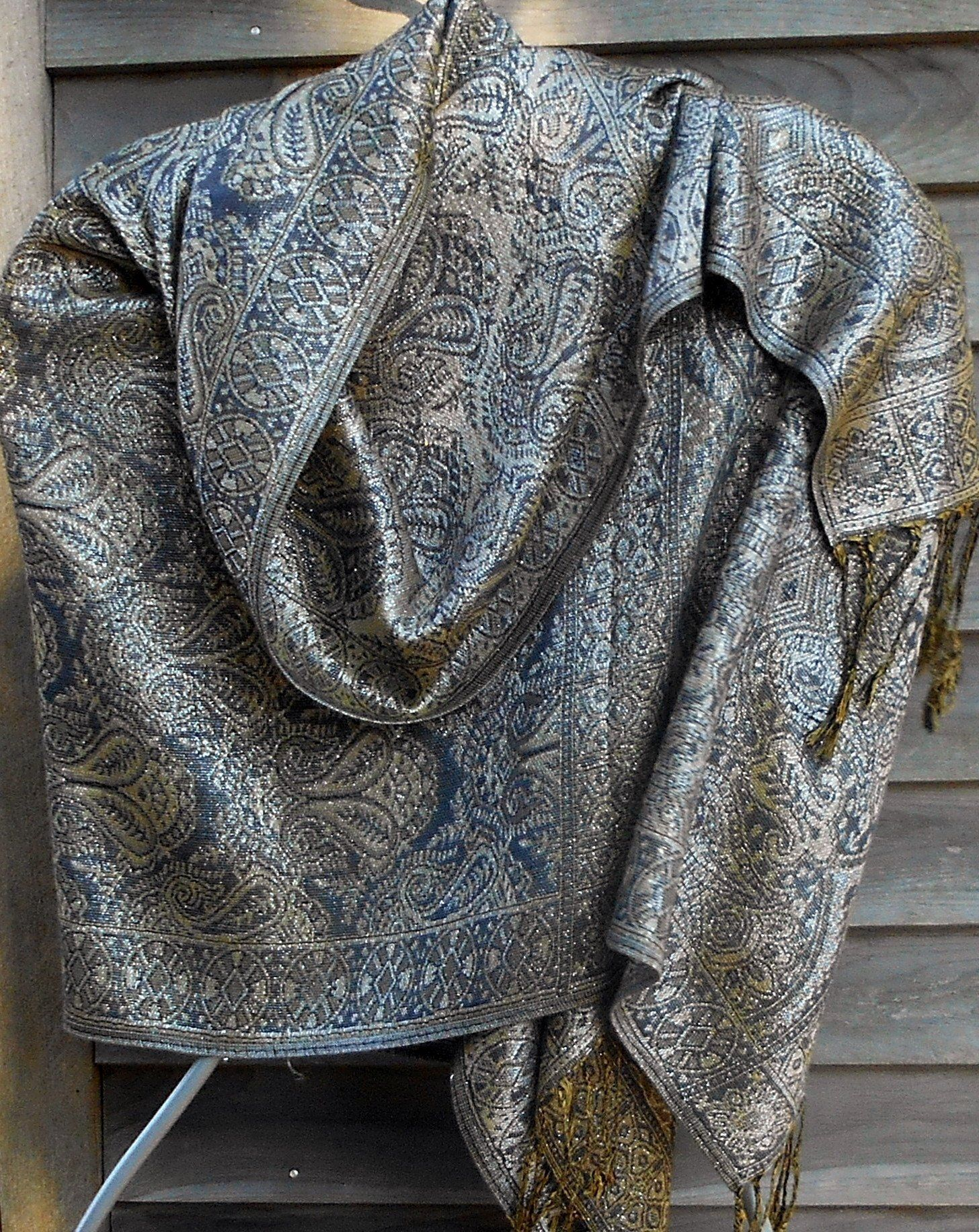 4daf423ad Festival Pashmina,Cashmere Shawl,Blanket Scarf,Gray and Silver Shawl,  Paisley Pashmina,Rave shawl,, Mother of the Bride Shawl,Formal wear by  Lambfeathers on ...