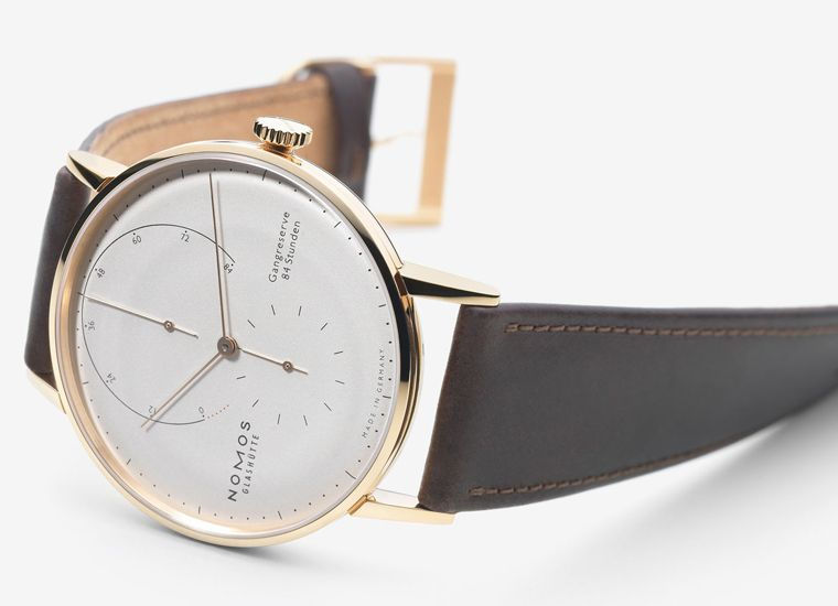 """Nomos Glashütte Lambda. Lambda is a letter of the Greek alphabet as well as the mathematical symbol for """"intrinsic values."""" From now on Lambda is also the name of a new NOMOS watch, in which these """"intrinsic values"""" are clear at first glance: a wonderful timepiece in 18-carat white or rose gold."""