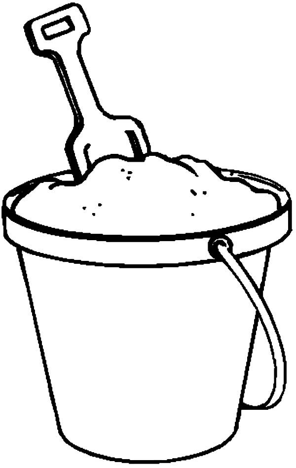 Beach Bucket Fill With Sand Coloring Pages