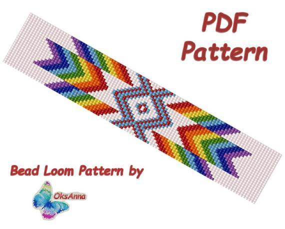 Bracelet loom pattern Miyuki pattern Beadweaving pattern Beaded Loom PDF pattern Beadwork