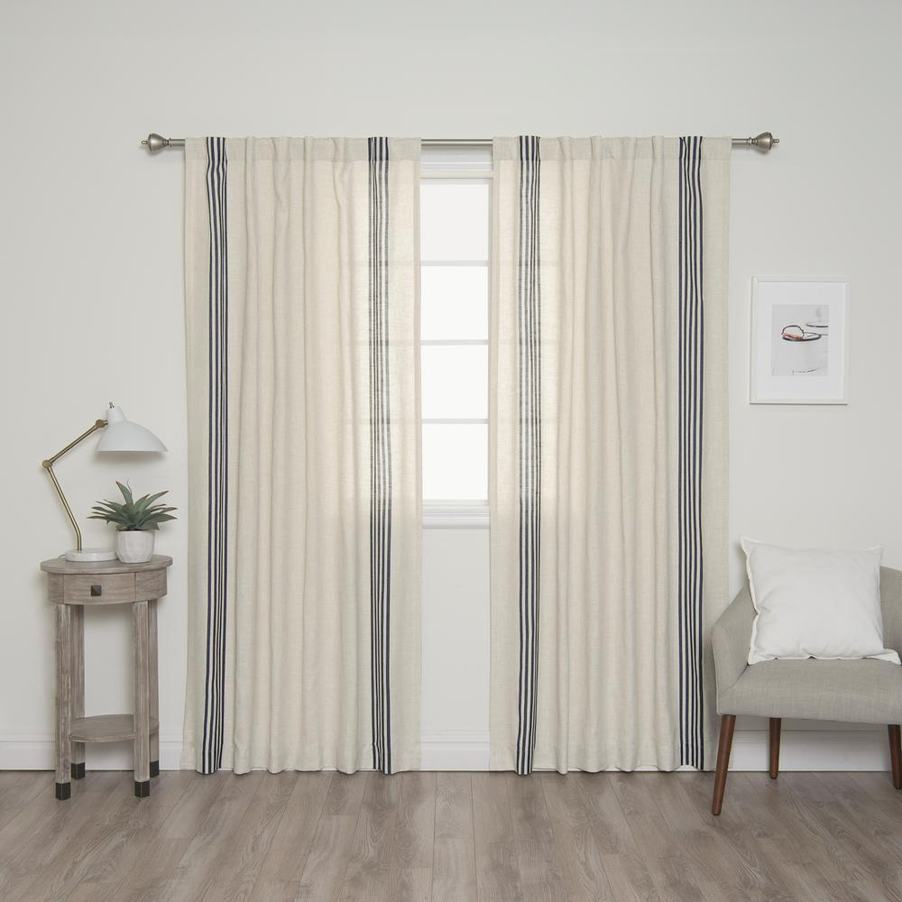 Best Home Fashion 84 In L Linen Blend Ivory Curtain Panels