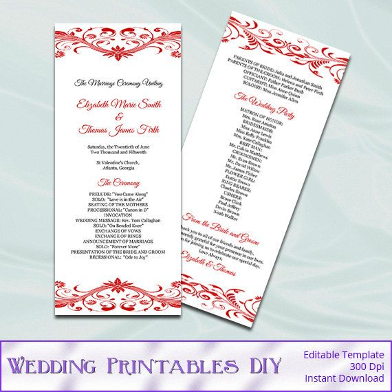 Red Wedding Program Template Diy By Weddingprintablesdiy On Etsy