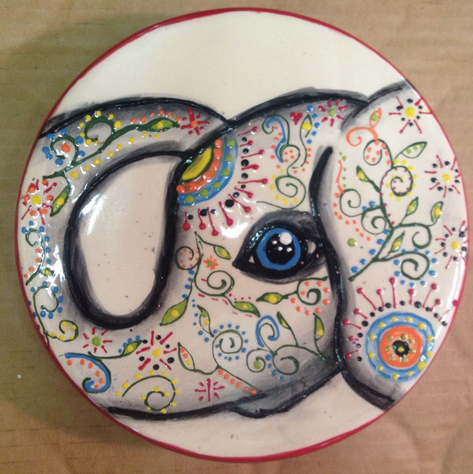 This elephant was fun to paint i love the doodling paint for Pottery designs with clay