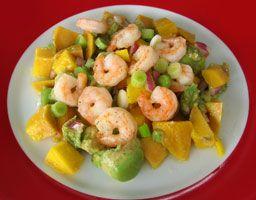 Recette - Salade d'avocat, mangue et crevettes   SOS Cuisine