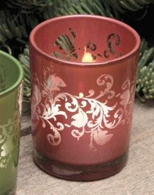 Red Ornate Glass Tea Light Candle Holders, Set of 12
