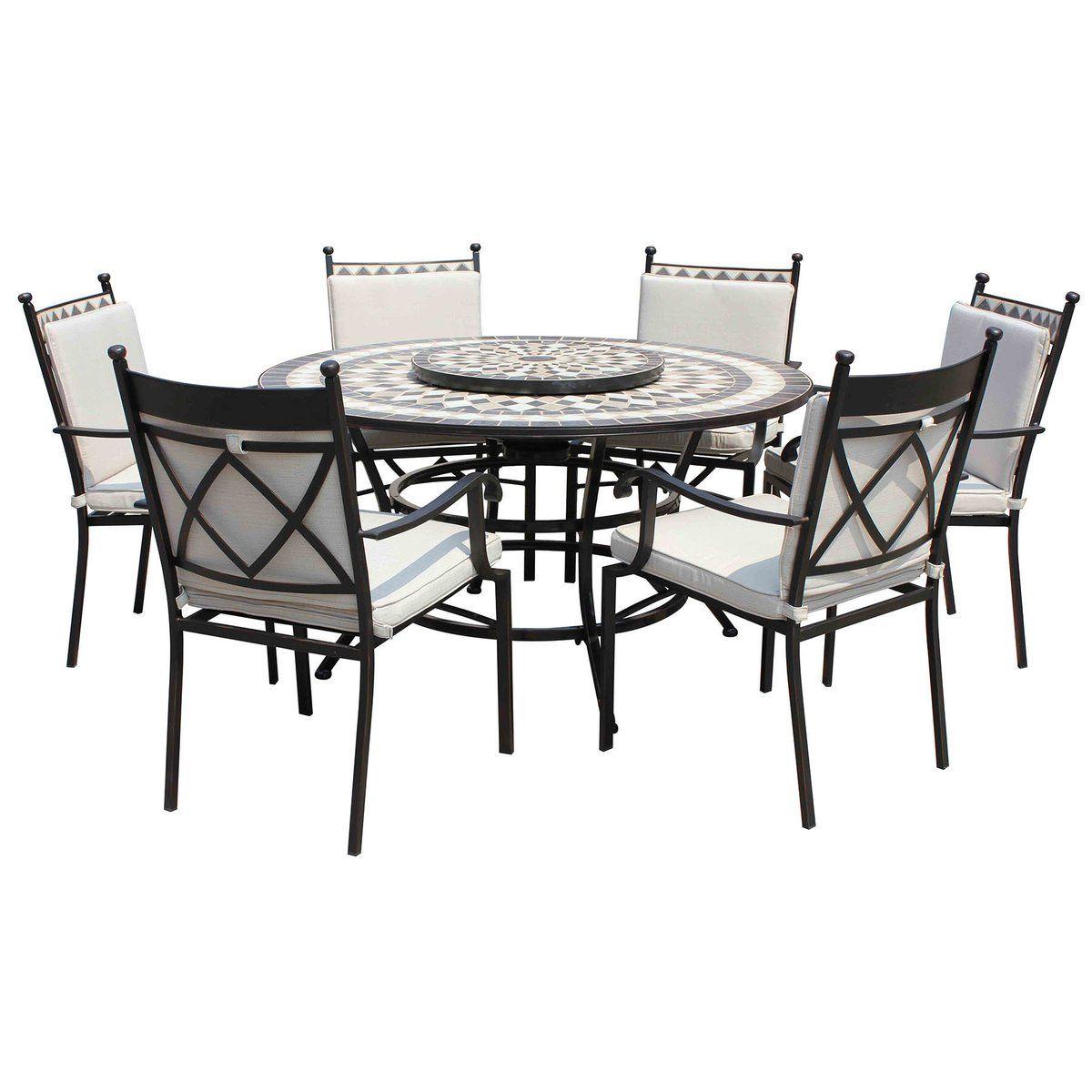 Leisuregrow Casablanca Metal Ceramic 135cm Round 6 Seater Firepit Dining Garden Furniture Set With Beig Garden Furniture Sets Outdoor Fire Pit Fire Pit Seating