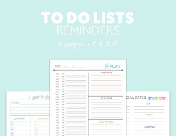 TO DO List Daily Planner Printable Organize SCHEDULE Calendar pdf - daily calendar printable