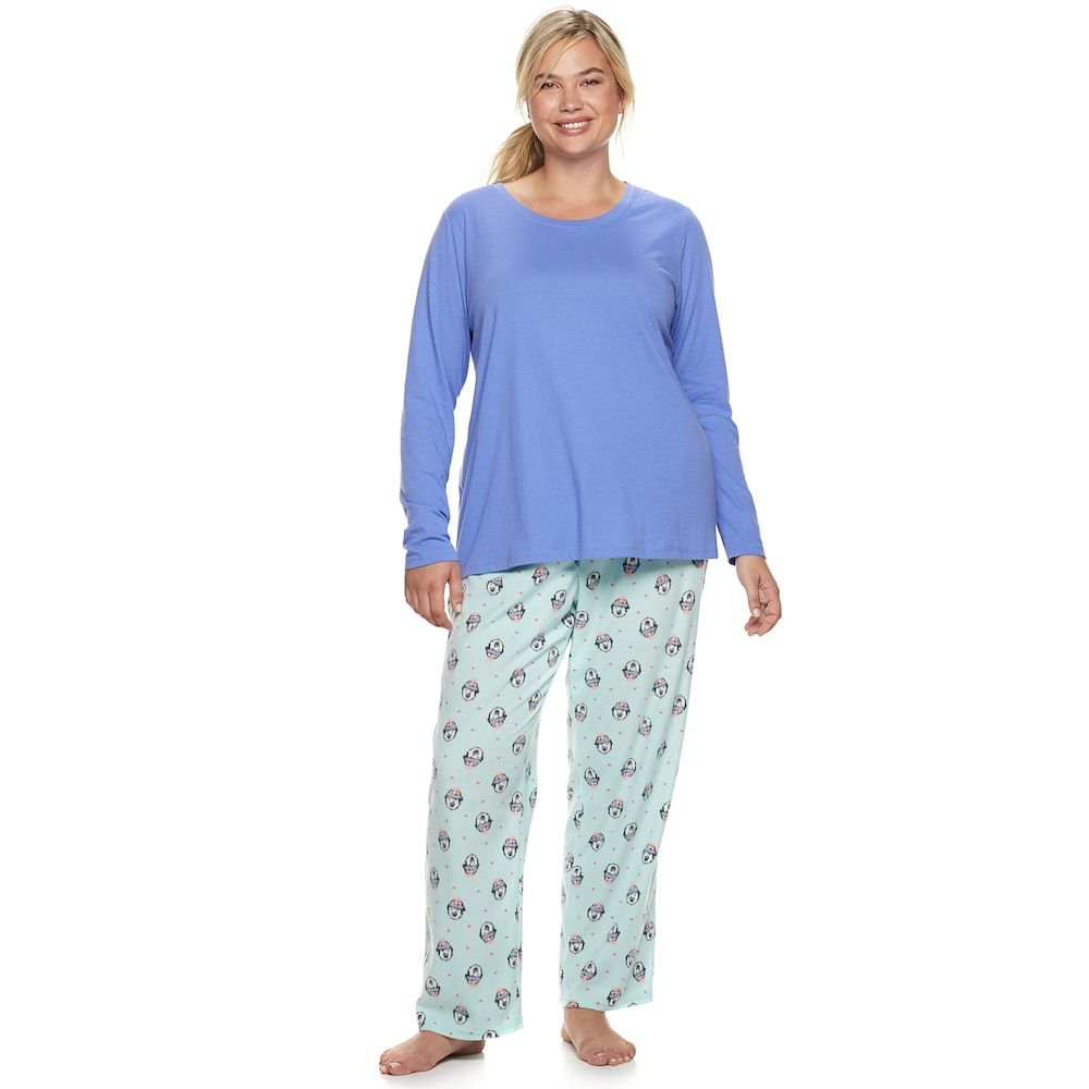 "ad3645306a Plus Size SONOMA Goods for Lifeâ""¢ Tee   Printed Fleece Pants Pajama Set"