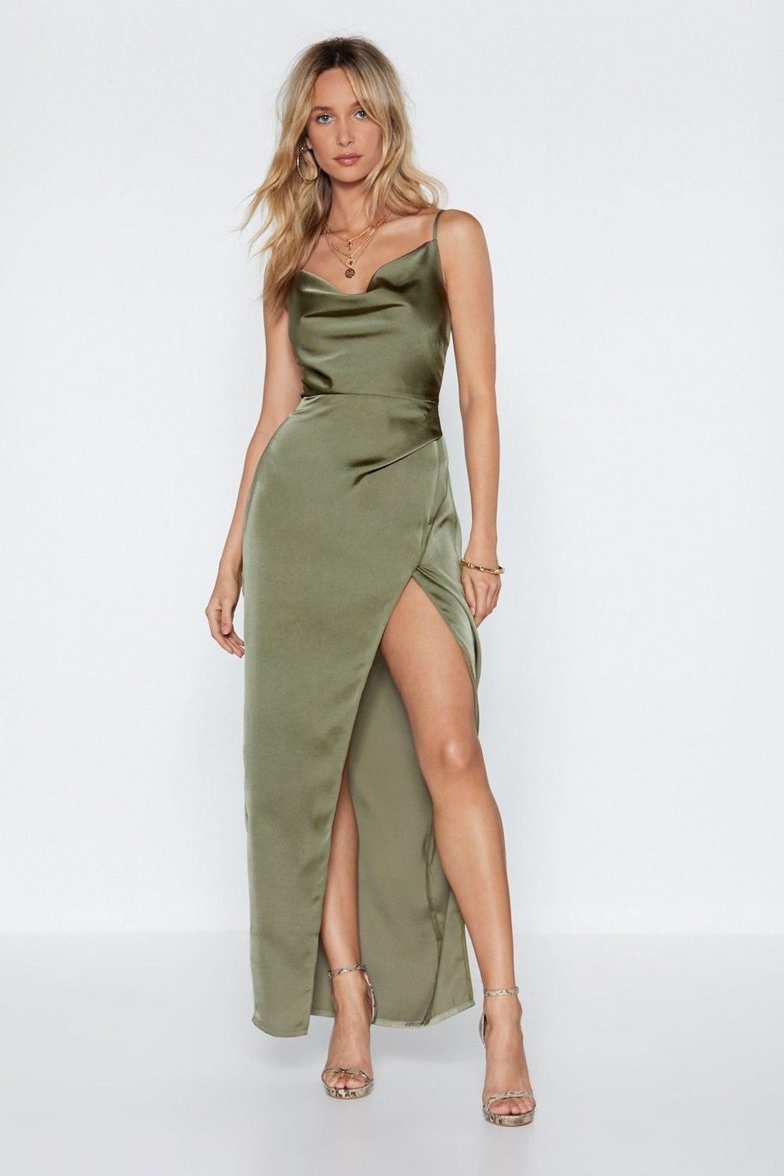 9d85bf26c33 Cowl Play Satin Dress in 2019