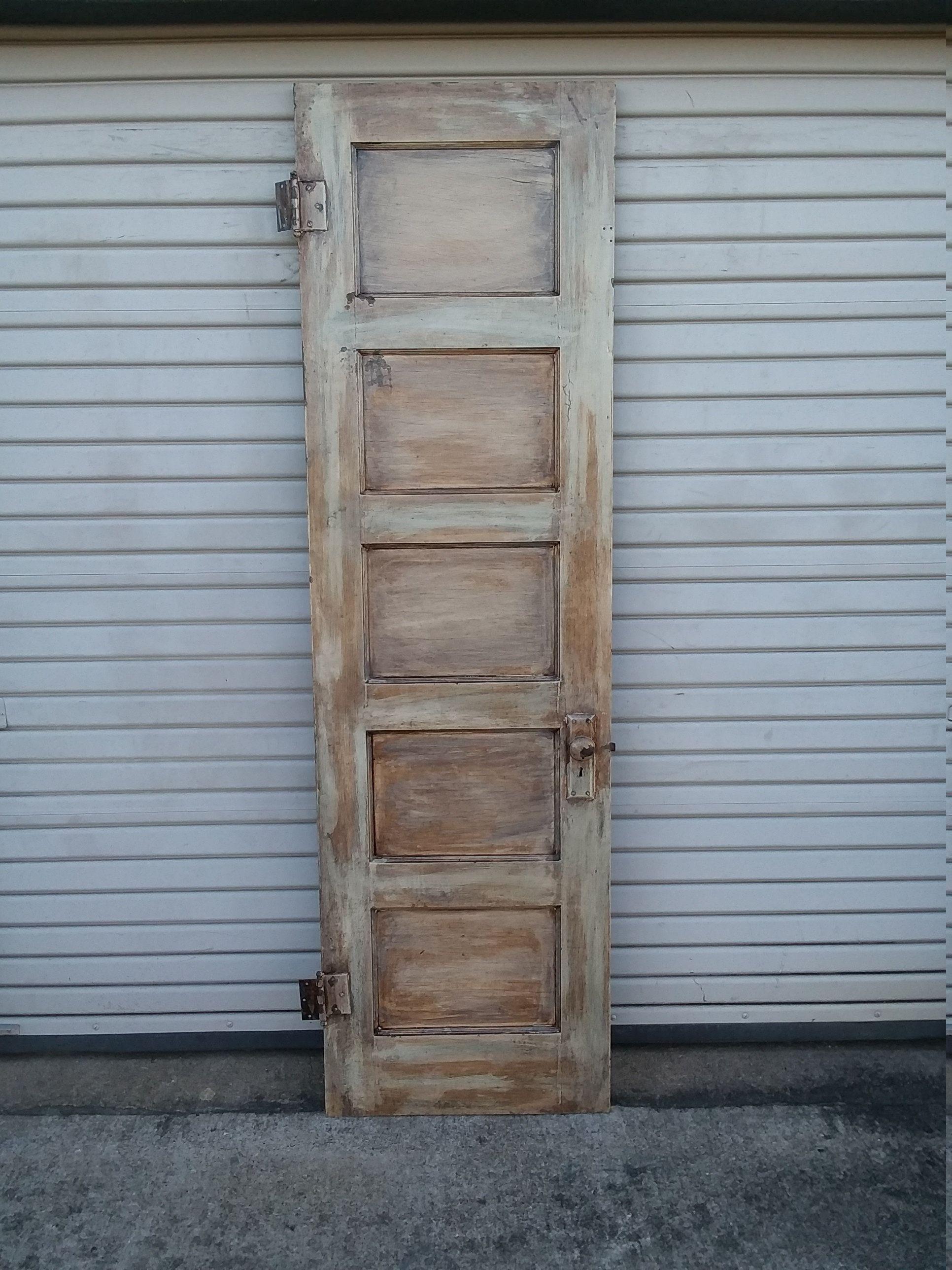Tall Rustic 5 Panel Pocket Door Pantry Door Rustic Door In 2020 Distressed Doors Recycled Door Rustic Doors