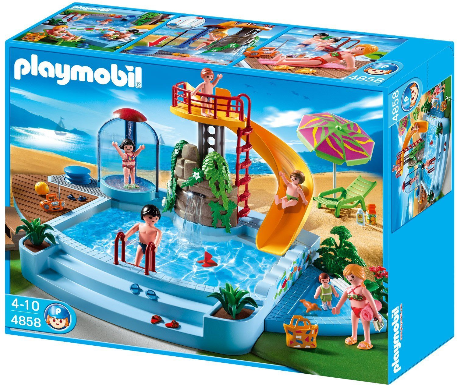 attrayant Playmobil - 4858 - Jeu de construction - Piscine avec toboggan: Amazon.fr: