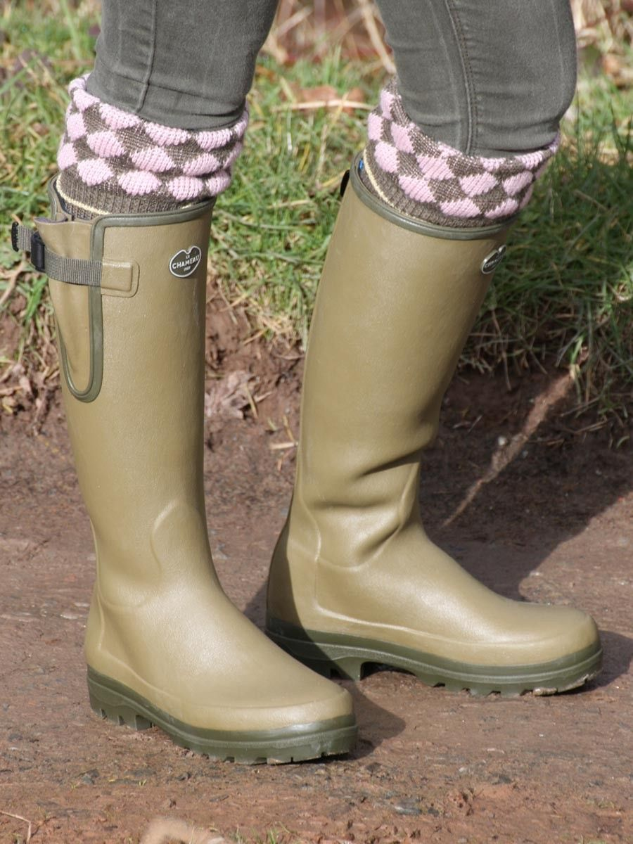Le Chameau Vierzonord Ladies wellington boot - neoprene lined rubber boot  with adjustable gusset. Available in Vert Vierzon (green) and Marron (brown)