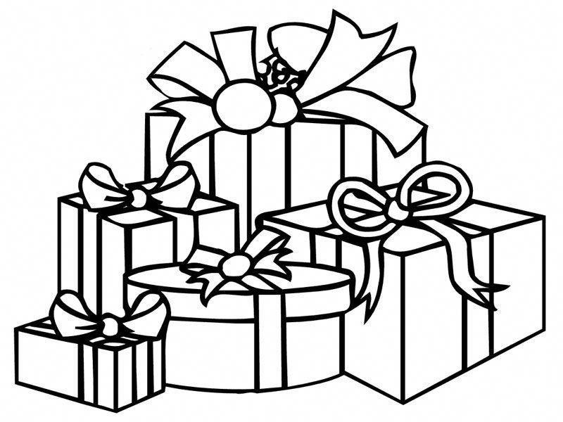 Coloriage De Noël Avec Dessins De Paquets Cadeaux Noir Et