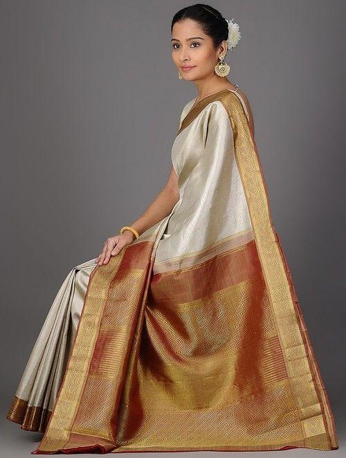 c6fe72a69c90fe Ivory-Red Kanjivaram Brocade Silk Saree