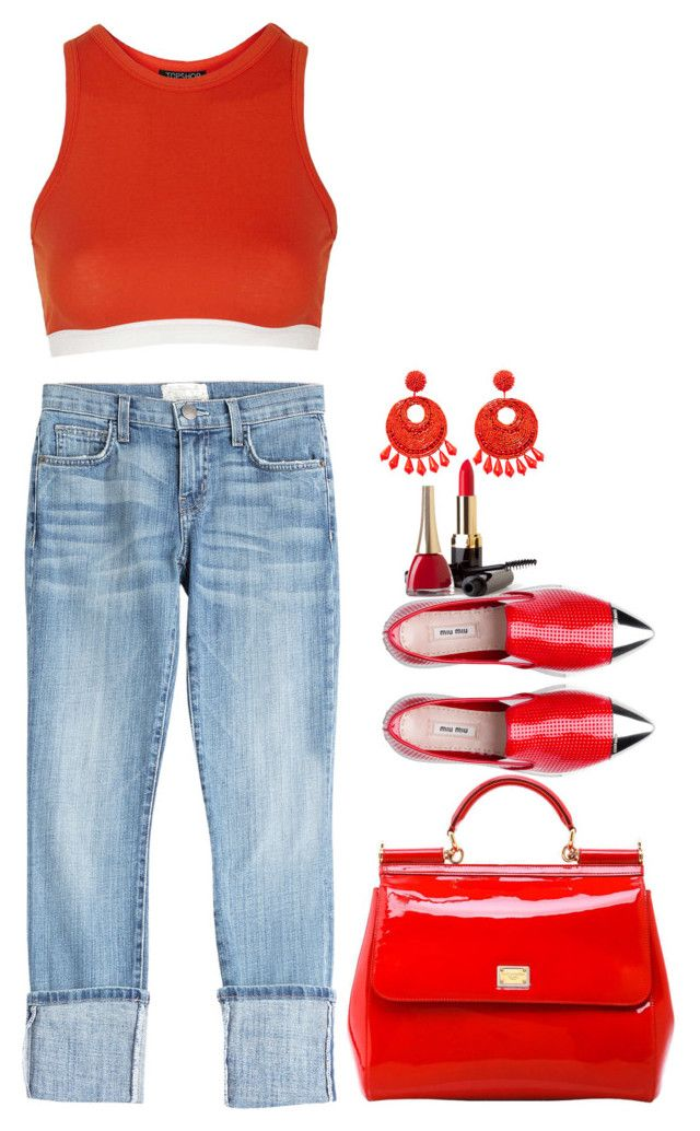 """""""Spice"""" by lisa-holt ❤ liked on Polyvore featuring Current/Elliott, Topshop, Dolce&Gabbana and Kenneth Jay Lane"""