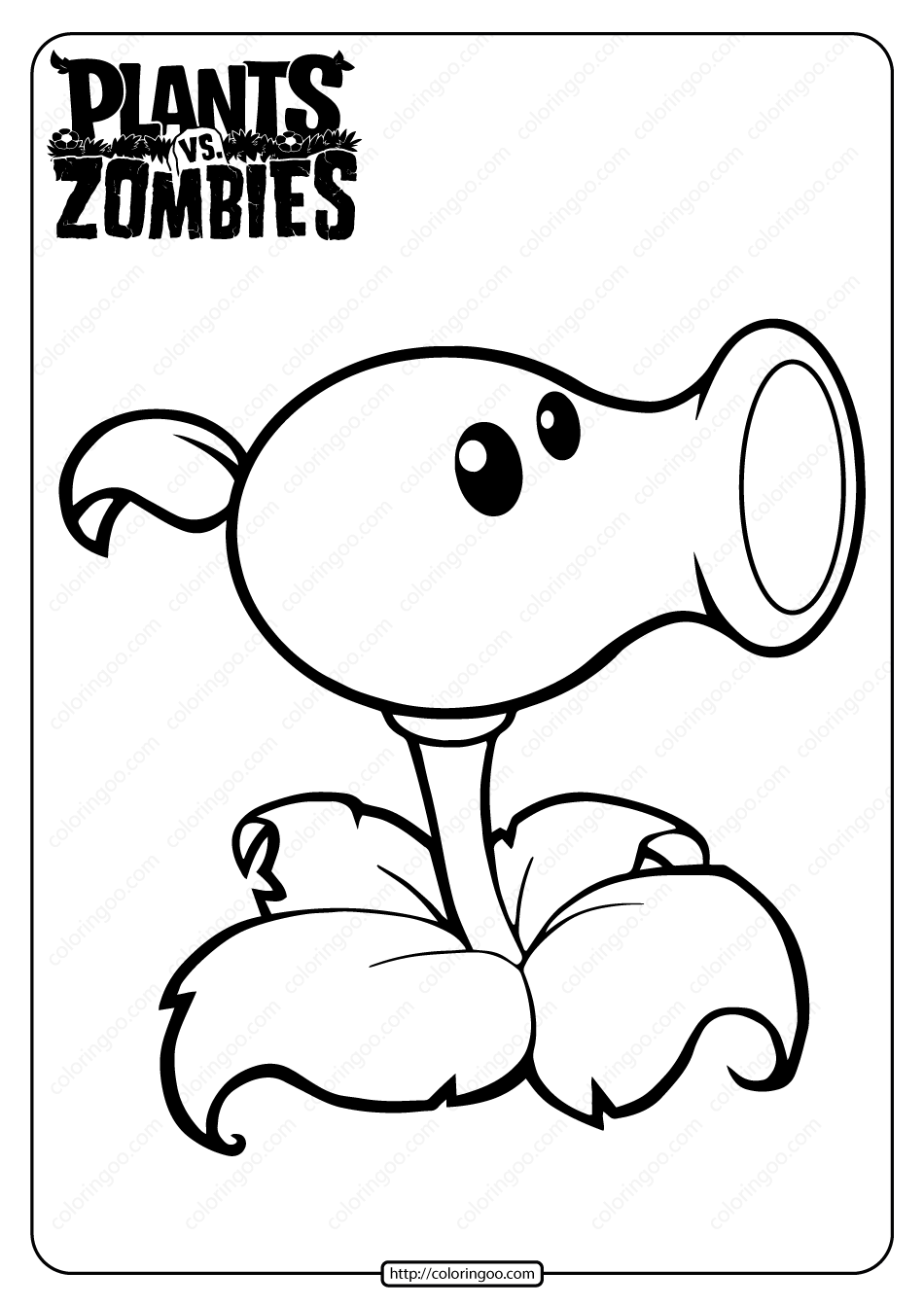 Plants Vs Zombies Peashooter Coloring Page Zombie Drawings Coloring Pages Zombie