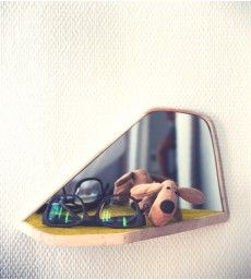 Miroir vide-poche en bois et feutre de laine Design Arnaud de Palange