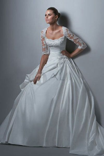 Taffeta Lace Puffy Scoop Princess Wedding Dress With Sleeves ...