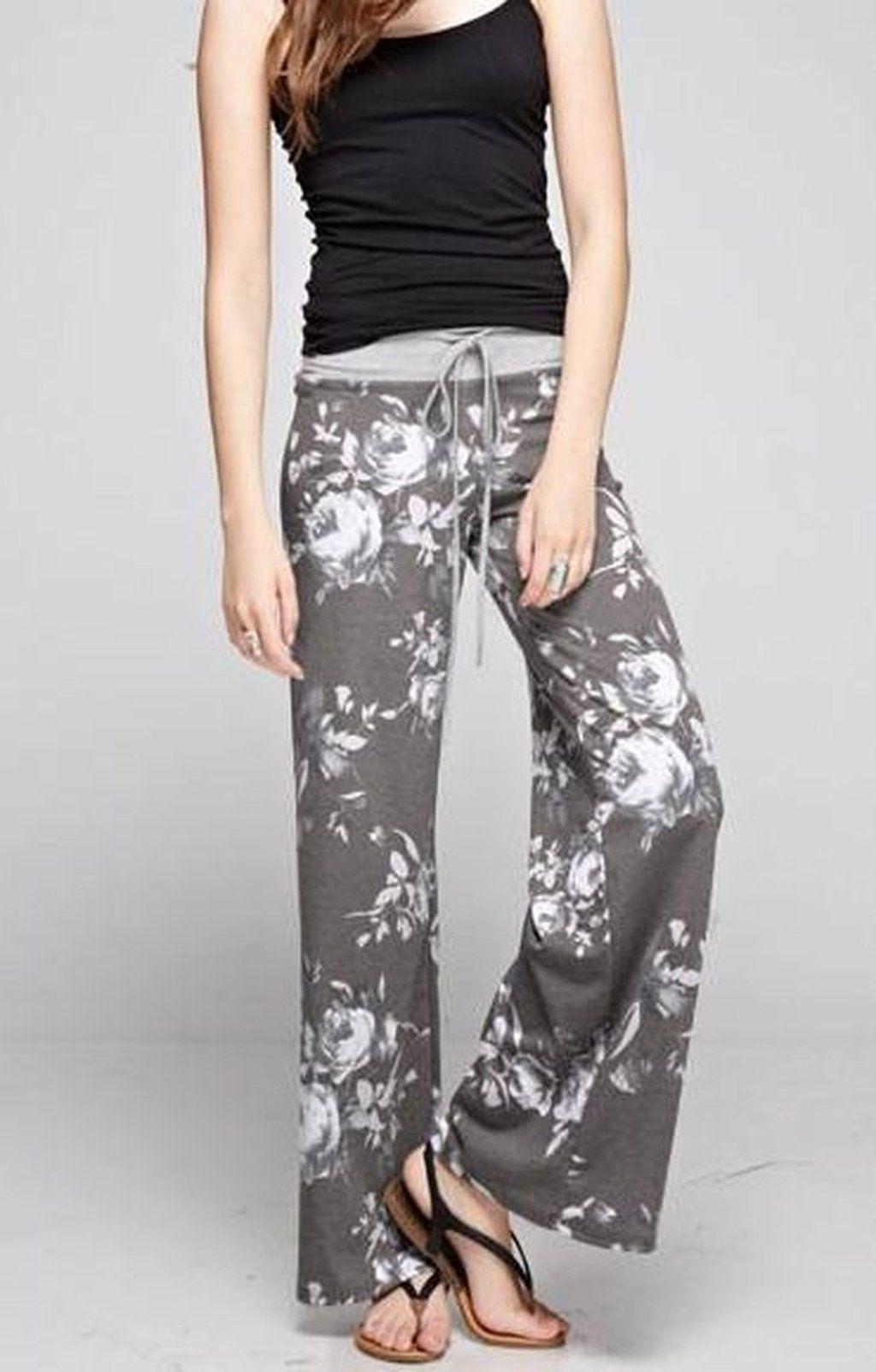 Floral Fancy Lounge Pants - Grey