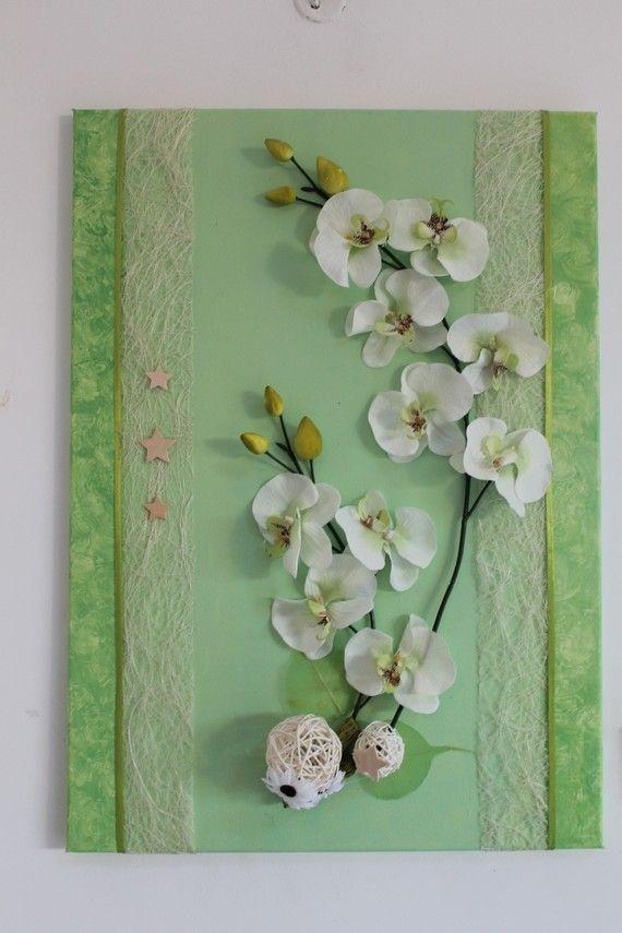 tableau fleurs artificielles printanier avec orchid e peintures tableaux p le m le. Black Bedroom Furniture Sets. Home Design Ideas