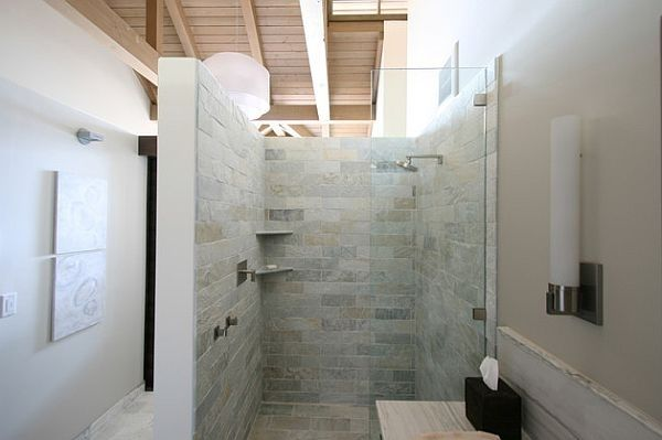 Begehbare Dusche Luxus Bad Einrichtung Glas Abtrennung