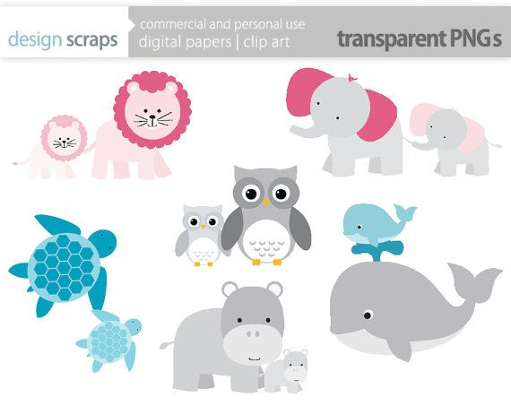 Mom Baby Animal Clip Art Graphics Baby Shower By Designscraps 3 50 Clip Art Mom And Baby Paper Clip Art