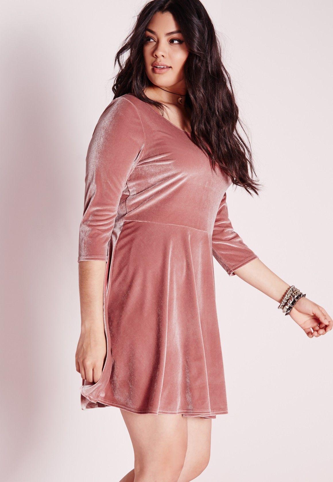 Missguided - Plus Size Velvet Skater Dress Pink | Valley Girl ...