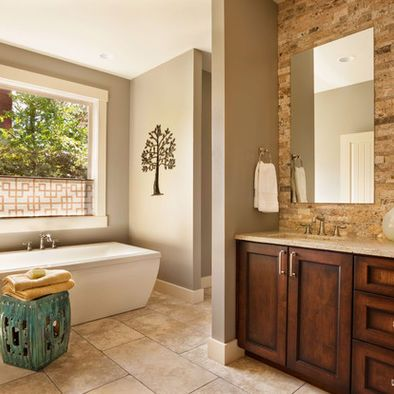 traditional bathroom stacked stone veneer design, pictures