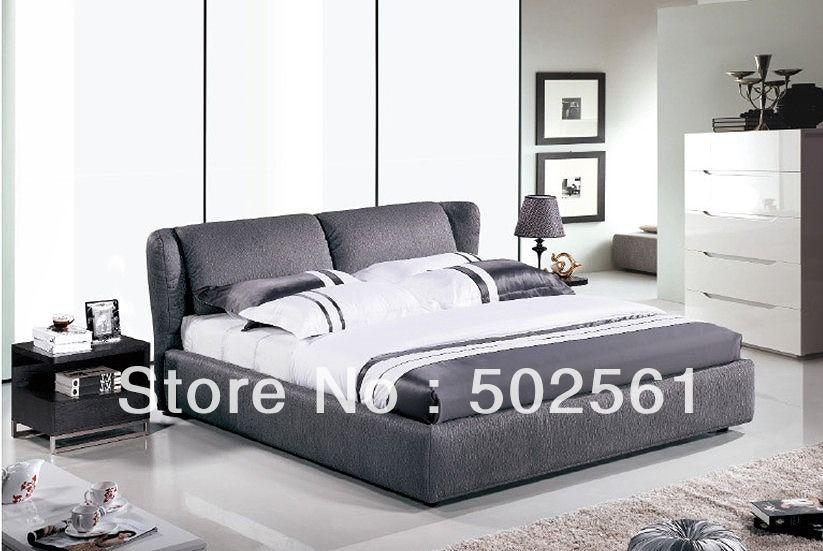 Rey Queen size contemporáneo gris fabirc de cama suave moderno ...