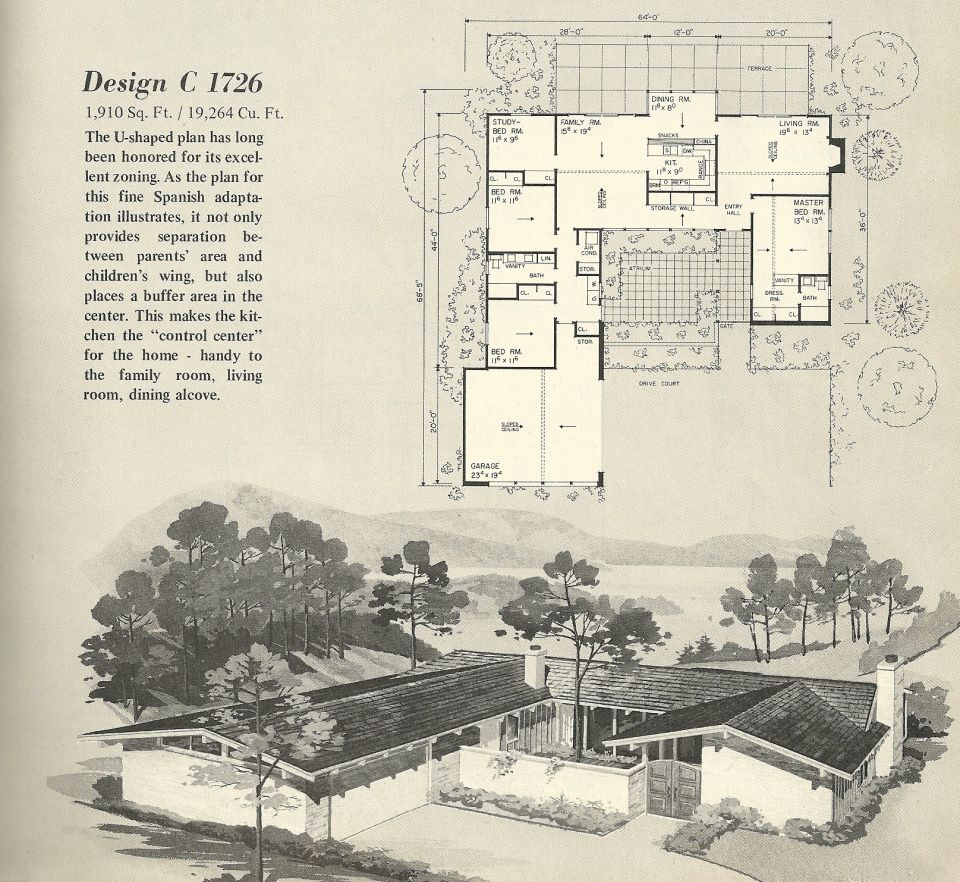 Vintage House Plans, 1960s homes, mid century homes | Mid ...