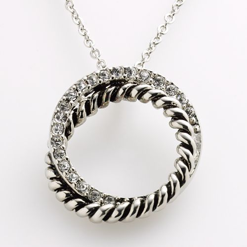 Silver-Tone Cubic Zirconia Rope Circle Pendant  Step up your style with this silver-tone necklace. Overlapping cubic zirconia and rope rings create an eye-catching circle pendant.