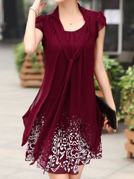 d272c6347db0 Casual Bow Tie Collar Short Sleeve Faux Twinset Dress For Women ...