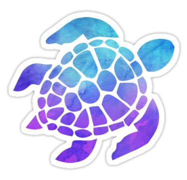 Tortuga Marina Acuarela Azul Y Púrpura Pegatina In 2019 Stickers